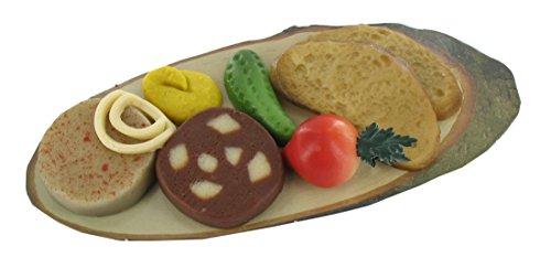 Marzipan Bauernvesper 200g / Leberwurst / Blutwurst / Gurke / Senf / Zwiebel / Radieschen / Brotscheibe / Vesperteller / Edelmarzipan