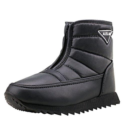 Shenji Herren Schneestiefel Kniestiefel mit Rutschfester Sohle Wasserdichte Kurzschaft Stoff Winter Schuhe H1036 Schwarz 43 (Für Winter Wasserdicht Männer Stiefel)