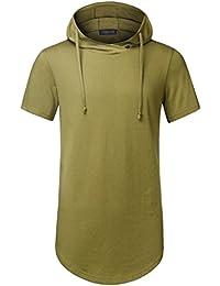 HEMOON Homme Hipster T-shirt Hip Hop Hoodie decore sur cote Manches courtes