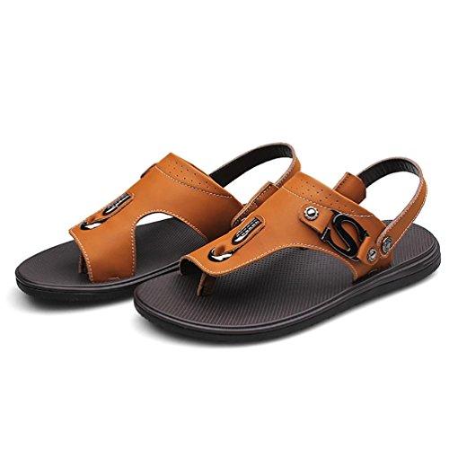 SHANGXIAN Uomo Estate Flip Flops casuale 100% sandali di cuoio Khaki
