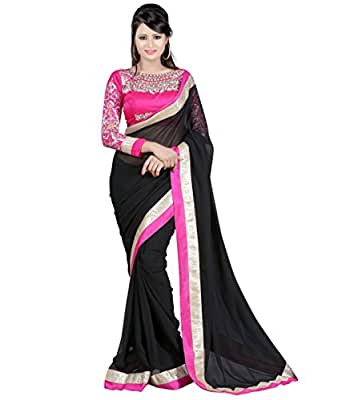 Winza Designer Cotton Saree with Blouse Piece (necklace black.._Black_Free Size)