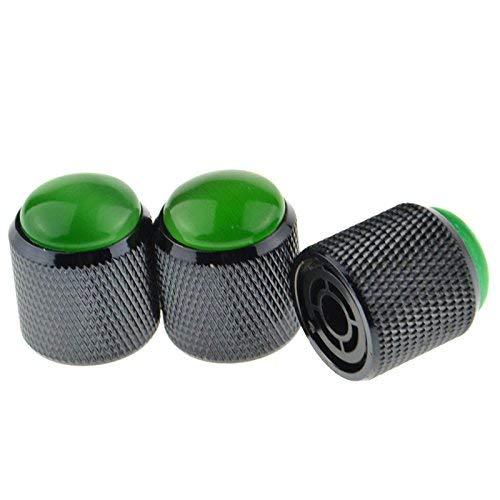 Juego de 3 pomos de control de volumen de aleación para guitarra eléctrica, color negro y verde