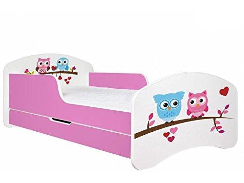 Kinderbett zwei Eulen in verschiedenen Farben