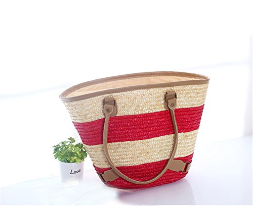 Tote Stroh Handtasche Pastoral Stil Weizen Stroh Weben Taschen Große Strand Taschen Gras Rattan Red