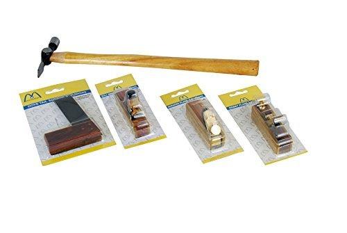 Montstar Werkzeugsatz Holzarbeiten, 8,9 cm Mini-Hobel, 8,9 cm Mini-Ziehklingenhobel, 10,2 cm rechteckige Schwalbenschwanzschiene, 8,9 cm Mini-Bullnose-Hobel, Kreuz-Kugelhammer, 113,4g, 5 Stück
