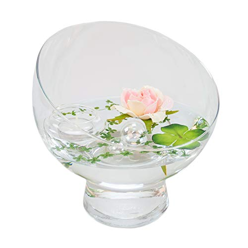 Runde Glas-Schale Nantes Höhe 19cm ø 19cm. Abgeschrägte Dekoschale mit Dekorations Set Rose rosè Dekoglas Glasgefäß ausgefallene Deko für Ihre Deko Ideen. Glasdeko von Glaskönig (Runde Glas-schale)