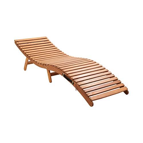 Butlers Sun Waver Sonnenliege mit Auflage 188x54x51 cm – Liegestuhl aus FSC-Holz – Gartenliege mit Polster