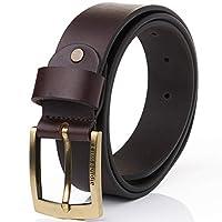 alpine swiss Men's Casual Jean Belt 35MM Genuine Leather Brass Buckle, Brown, Size 42