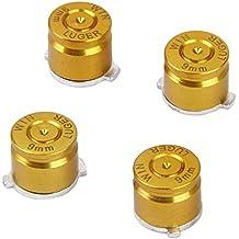 Sharplace 4 x Botones de Bala Palanca de Mando Aluminio Metal Fijados para PS3 / Controlador PS4 Color Oro