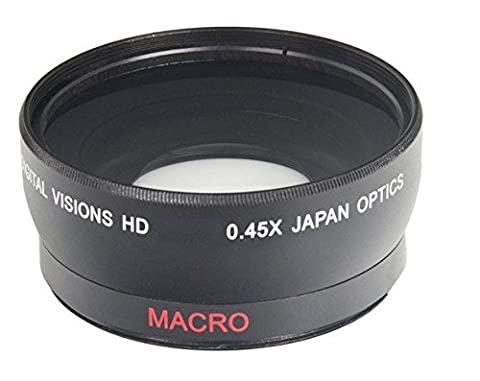 52 mm Convertisseur grand angle 0,45x avec Macro Close-up Attachment pour Nikon D3000, D3100, D3200, D3300, D3400, D3500, D5000, D5100, D5200, D5300, D5500, D7000, D7100, D7200, D3, D4, DF, D40, D40x, D50, D60, D70, D70s, D80, D90, D100, D200, D300, D300S, D500, D600, D610, D700, D750, D800, D800E, D810 Appareil photo numérique Reflex