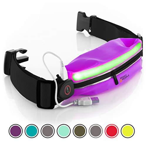 Laufen Gürteltasche für Herren und Damen - Laufgürtel Bauchtasche für iPhone 6, 7 Plus. Sport Hüfttasche Hände Frei Jogging, Laufen - Reflektierend Läufer Gürtel (Lila LED)