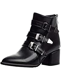 YEBIRAL Les Chaussures Femme Pointu Talon épais Talon Haut La Mode Boucle  de Ceinture Zip arrière 6b340b42dd5