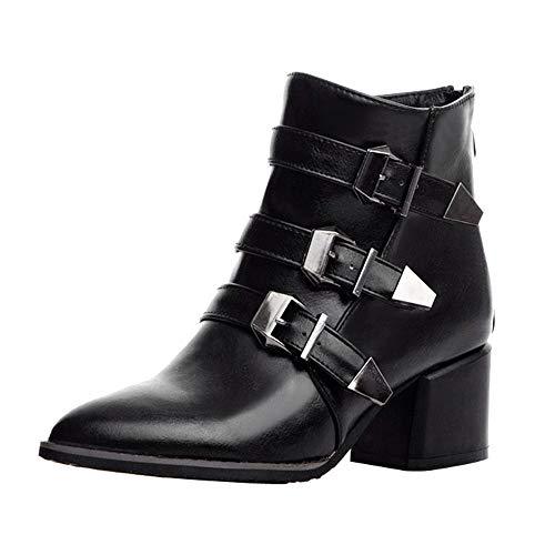 Junjie Frauen Damen Gürtelschnalle High Heel Schuhe Mode Zurück Zipper Sexy Damen Nackte Stiefel Schwarz, Rot, Grau 35-43