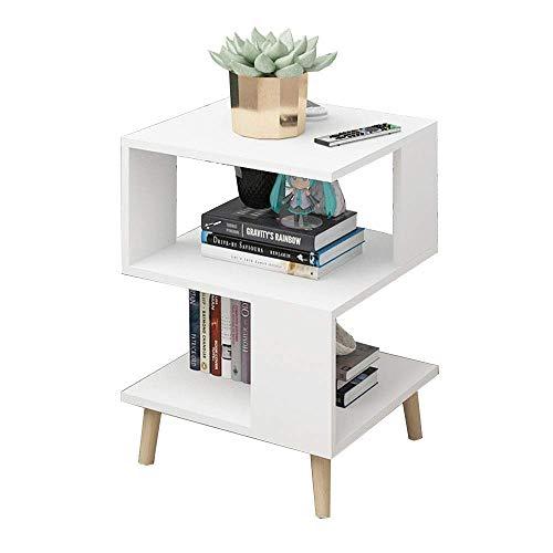 Carl Artbay Home&Selected Furniture/Beistelltisch Couchtisch Nachttisch Bücherregal Storage Rack 40 x 40 x 57cm (Farbe: blau) (Color : White) -