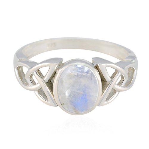 gemas genuinas anillo de piedra lunar cabujón ovalado arco iris - piedras preciosas de plata maciza arco iris de luna anillo de gemas genuinas - joyería más alta regalo de buen artículo para abuela