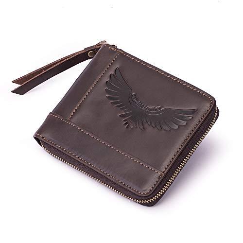 GGHY-bag Das Leder dequalité RFID-Männer Business-Wallet-Korn-Leder mit Rundum-Reißverschluss-Geldbörse mit Münzfach, Haltbar und robust (Color : Coffee, Size : S) -