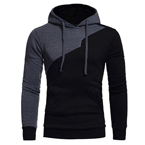 Sannysis Herren Langarm Kapuzenpullover Patchwork Hoodie Kapuzen Sweatshirt Tops Jacke Mantel Outwear (L3, Schwarz)