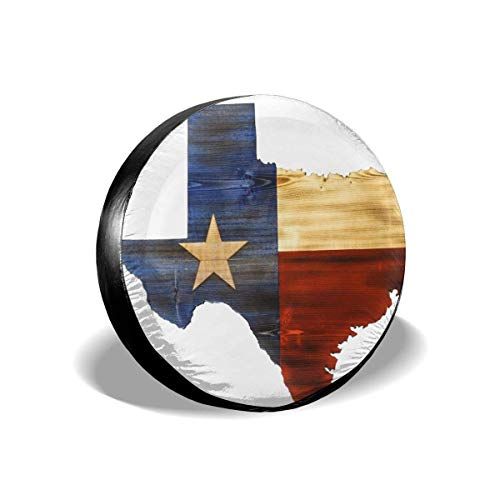 PPOOia Tire Cover Texas Map Flag Potable Polyester Universal Spare Wheel Tire Cover Wheel Covers for SUV Truck Camper Travel Trailer Accessories(14,15,16,17 Inch) 16