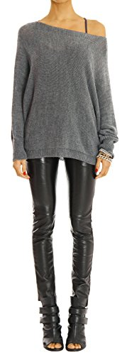 Bestyledberlin pull-over femme, pull-over aux manches chauve-souris t35p Marron fonce