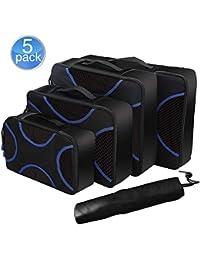 U-MISS Packing Cubes Value Set for Travel, 5pcs Travel Essential Travel Luggage Organizer Storage Handle Bag Pouch Set (Black-5set)