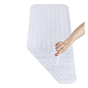 "Pinzz Vinyl Non-Slip Bathtub Mat Anti-Bacterial Shower Mat,Extra Long,100*40CM/16""*38"", Powerful Suction Cup Gripping,Machine Washable, BPA Free, Non-Toxic, Phthalate free, Latex Free(Clear)"