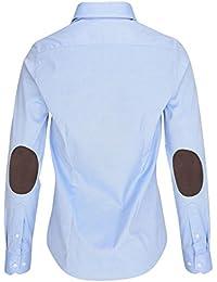 L. Bo Apparel, Neat: Blusa Azul con Parches en los Codos, Blusa Elegante para Mujer Elbow-Patches