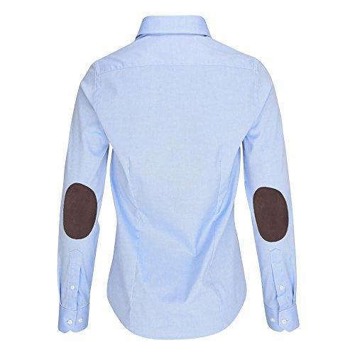 L. Bo Apparel, Neat: Blaue Bluse mit braunen Ellenbogen-Patches, Elegante Damen-Bluse mit Flicken- Gr. L (Braunes Sakko,)
