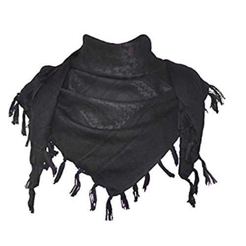 MiaoMa dicker Außen 100% Baumwolle Militär Tactical Desert Shemagh Palästinensertuch-Schal Wrap, schwarz (Shemagh Wüste Schal)