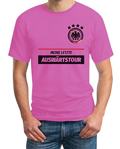 Shirtgeil JGA Tshirt Junggesellenabschied Meine Letzte Auswärtstour Kombi T-Shirt X-Large Rosa