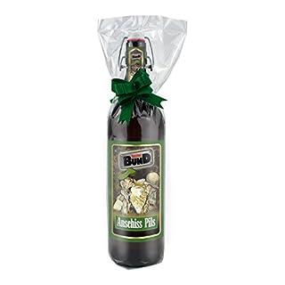 Beim Bund - Anschiss 1 Liter Flasche mit Bügelverschluss in Folie und Schleife verpackt als Geschenk