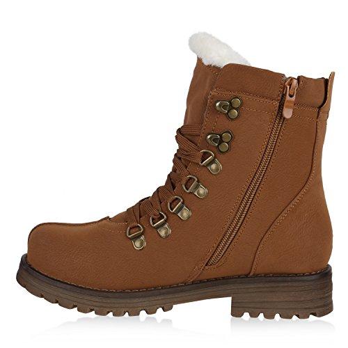 Damen Schuhe Worker Boots Warm gefüttert mit Blockabsatz Hellbraun Weiss