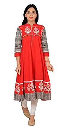 Rama Women's Cotton Embroidered Red Long Anarkali Kurta