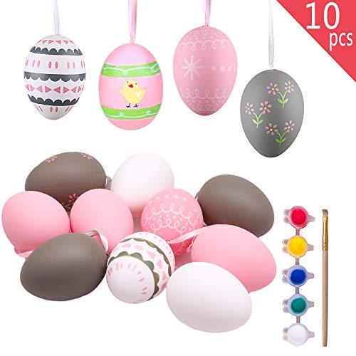 Valery madelyn 10pcs 2.36in / 6cm fai da te pittura uova di pasqua decorazione, pasqua caccia regali ornamenti per bambini/cestino/scuola/albero (primavera rosa e grigio)