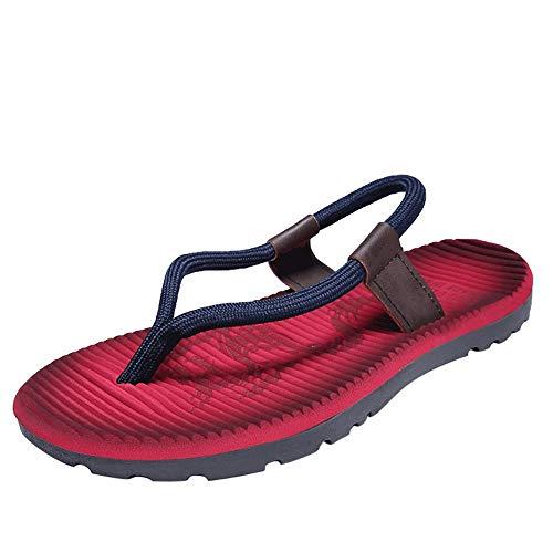 Apragaz Hausschuhe Herren Flip-Flops Casual Slip On Style Flexibel Leicht Frische Einfarbig Herren Flip-Flops Sandalen Für Herren Gummisohle (Color : Red wine, Größe : 39 EU)