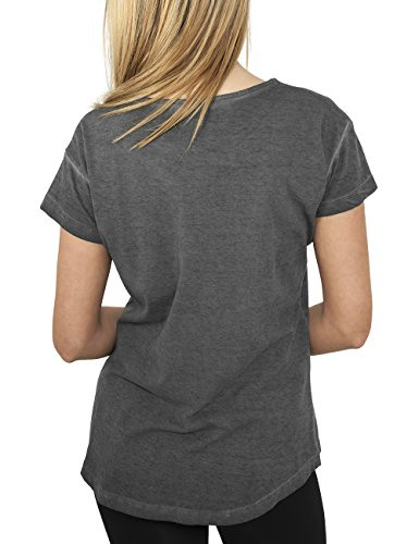 Urban Classics Damen T-Shirt Ladies Long Spray Dye Tee Darkgrey