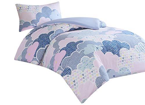 Baby Bettwäsche 100x135cm 100% Baumwolle mit bunten Herzen 2-teilig Deckenbezug Kopfkissenbezug Renforcé Mädchen Jungs Baby Bettset Cloud Blau Pink