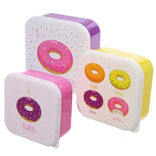 Set di 3 contenitori per alimenti porta pranzo lavoro ufficio scuola asilo design ciambella donut