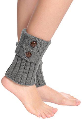 women-short-knit-crochet-leg-warmer-boot-cuffs-boot-socks-2-buttons-7-colors-gray