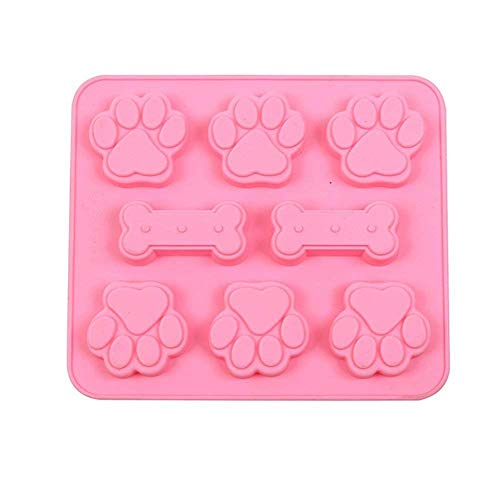 (Hemore 8 Grids Backformen Cat Claw Knochen-Muster-Silikon-Fondant-Form-DIY Backformen für Kuchen-Schokoladen-Pudding Dessert Moulds (zufällige Farbe) Hohe Qualität, praktisch, die Sie verdient haben)