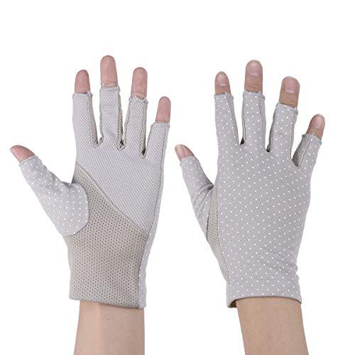 Healifty Sonnenschutz Handschuhe UV-Schutzhandschuhe Anti-Rutsch Damen für Fahren Golf Outdoor Motorrad Radfahren (Grau)