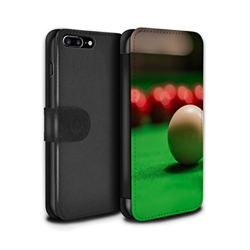 Stuff4 Coque/Etui/Housse Cuir PU Case/Cover pour Apple iPhone 7 Plus / Boul Noir/Rack Design / Snooker Collection Boul Blanc