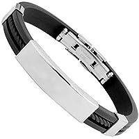 itemer estilo clásico hombres de titanio pulsera de silicona con cierre plegable de acero inoxidable para 15–21cm