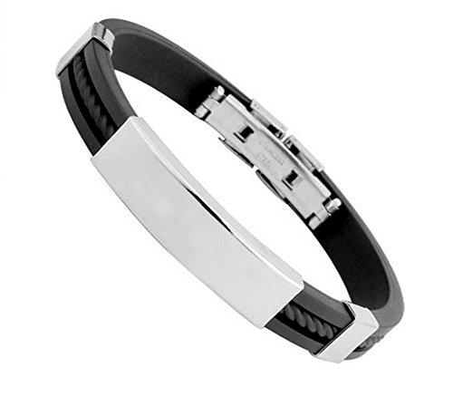 Qingsun Herren Jungen Titanstahl Silikon Armband Mode Schmuck Schwarz Silber (1 Stück)