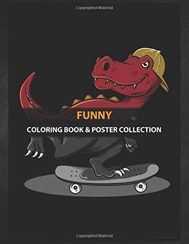 Coloring Book & Poster Collection: Funny Trex Playing Skateboard Cartoons
