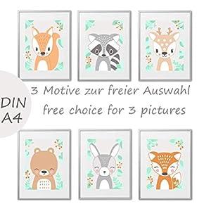 3er Set Kinderzimmer Babyzimmer Poster Bilder Waldtiere DIN A4 | Mädchen Junge Deko | Dekoration Kinderzimmer | Waldtiere Skandinavische Art