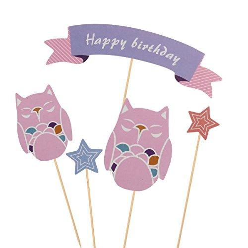 Alles Gute Zum Geburtstag Kuchen Topper Owl Design Papier Kuchen Toppers für Baby Shower Birthday Party ()