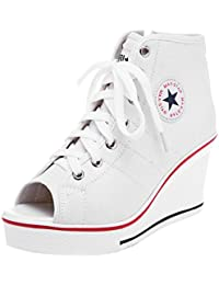 55bb3d1913df Mauea Baskets Toile Compensées Femme Plateforme Bout Ouvert Sneakers  Chaussure Tennis Lacets Confort Grande Taille 40