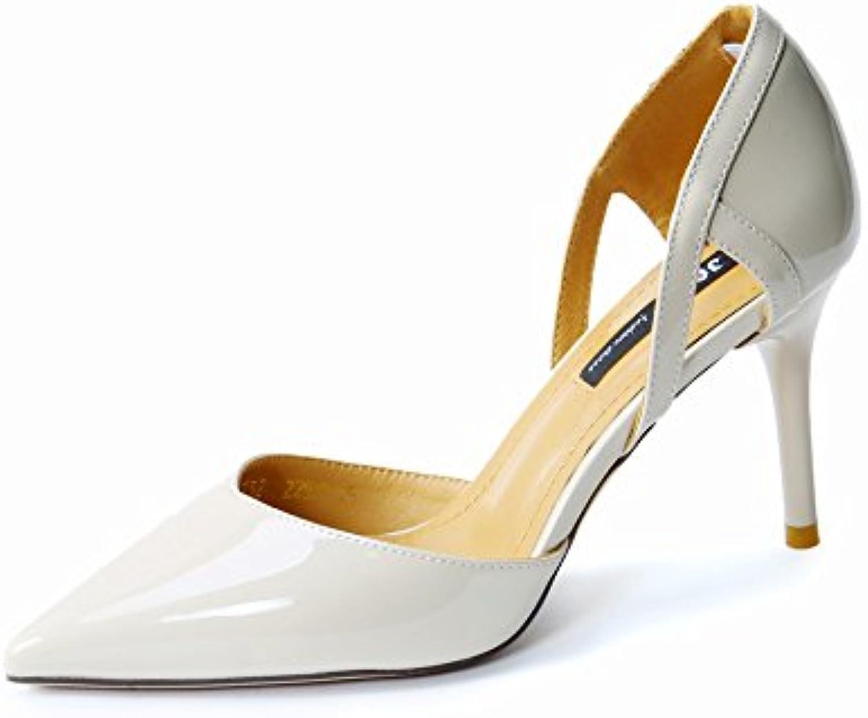 LGK&FA Single Shoe Female Fashion Hollow Shallow Sharp and High Heel Shoes Thirty-Four Beige