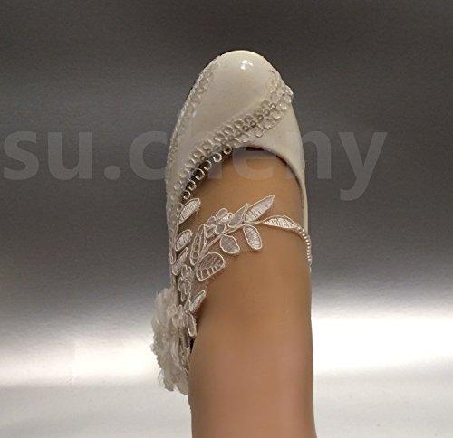 Jingxinstore Encaje Blanco De Cristal Lentejuelas Margarita Zapatos De Novia Novia Cuñas Zapatos De La Corte Del Banquete De Boda 5.5cm, Blanco