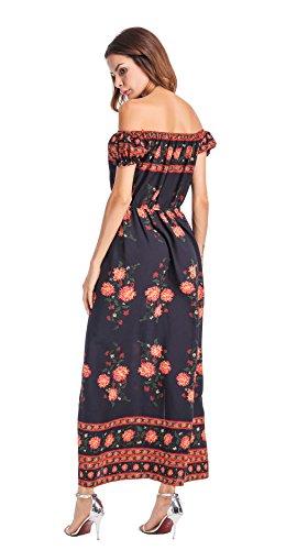 Clasichic Damen Sexy Off Shoulder Maxikleid Blumenkleid Bohemia Floral Print High Slit Maxi Beach Kleid Mittelblau